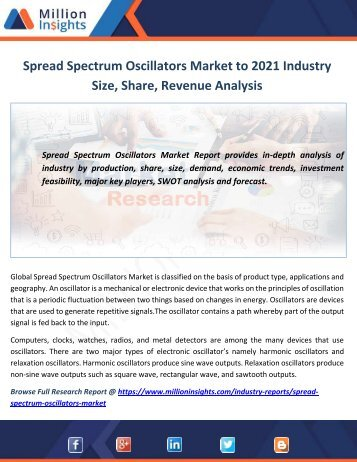 Spread Spectrum Oscillators Market to 2021 Industry Size, Share, Revenue Analysis
