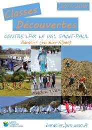 Catalogue Classes Decouvertes 2017 2018 - Centre LPM de Baratier