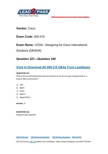 Easily Pass 200-310 Exam With Lead2pass New Cisco 200-310 Brain Dumps (221-240)