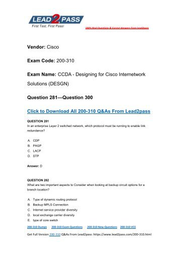 Easily Pass 200-310 Exam With Lead2pass New Cisco 200-310 Brain Dumps (281-300)