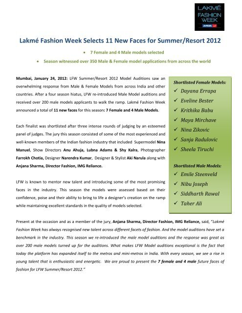 Lakmé Fashion Week Selects 11 New Faces for Summer/Resort 2012