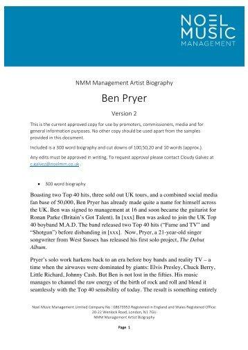 Ben Pryer - NMM Biography