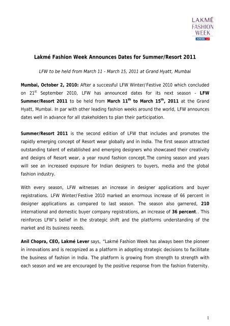 Lakme Fashion Week Announces Dates For Summer Resort