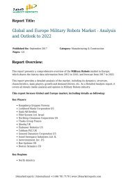 Military Robots Market - Analysis and Outlook to 2022