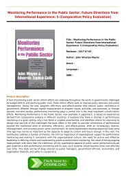 Monitoring Performance in the Public Sector  Future Directions from International Experience  5 Comparative