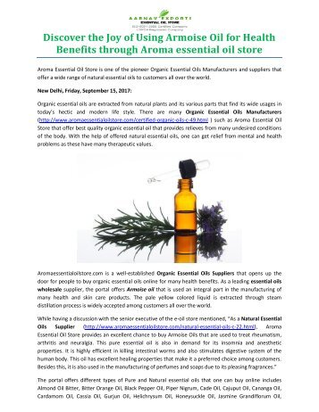 Discover the Joy of Using Armoise Oil for Health Benefits through Aroma essential oil store
