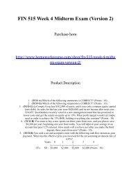 FIN 515 Week 4 Midterm Exam _Version 2_