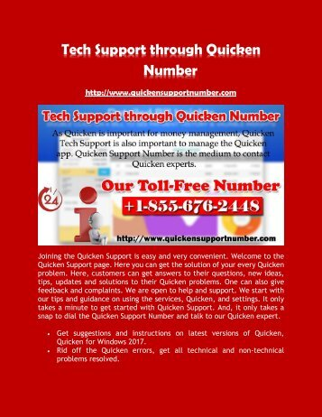 Tech Support through Quicken Number