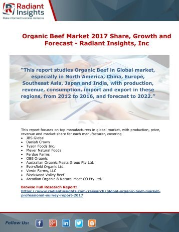 Organic Beef Market 2017 Share, Growth and Forecast By Radiant Insights