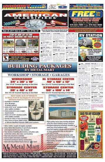 American Classifieds Sept. 28th Edition Bryan/College Station