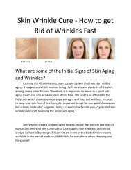 Skin Wrinkle Cure - How to get Rid of Wrinkles Fast