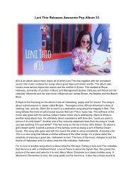 Leni Thio Releases Awesome Pop Album 33