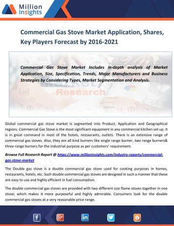 Commercial Gas Stove Market Application, Shares, Key Players Forecast by 2016-2021