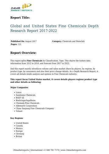 Fine Chemicals Depth Research Report 2017-2022