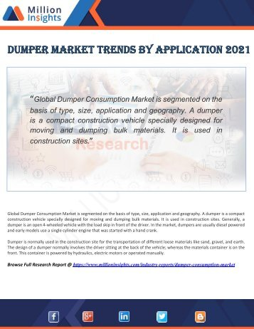Dumper Market Trends by Application 2021