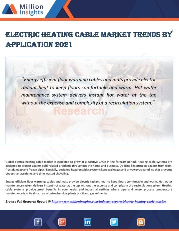 Electric Heating Cable Market Trends by Application 2021