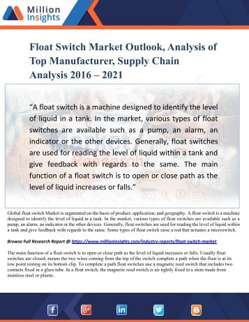 Float Switch Market Growth Analysis, Trends Forecast by Regions and Types to 2021