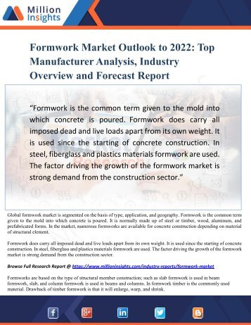 Formwork Market Outlook to 2022 - Top Manufacturer Analysis, Industry Overview and Forecast Report