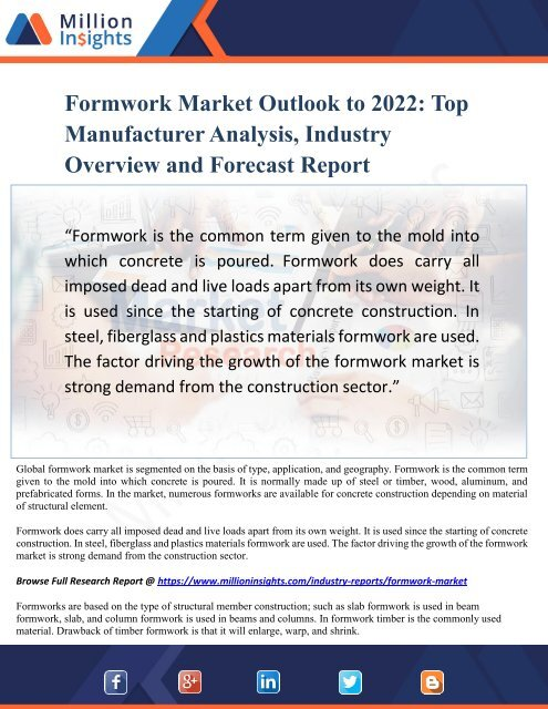Formwork Market Outlook to 2022 - Top Manufacturer Analysis