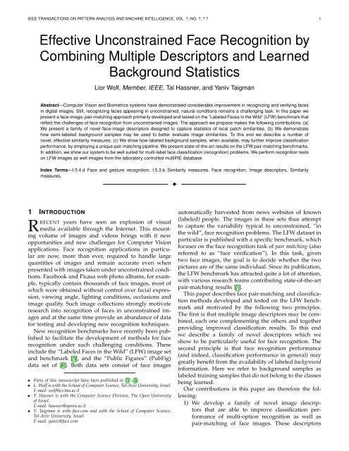 Effective Unconstrained Face Recognition by Combining
