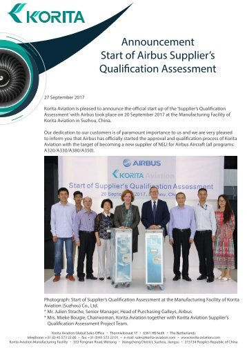 Korita Aviation Announcement - Start of Airbus Suppliers Qualification Assessment