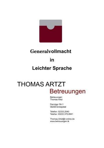 Vorsorge-Vollmacht in Leichter Sprache - Thomas Artzt