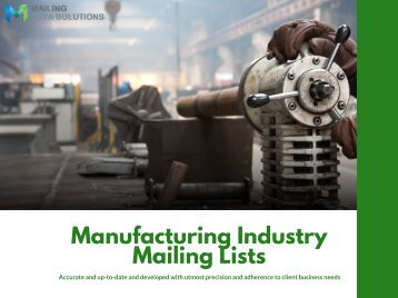 Manufacturing Industry Mailing Lists