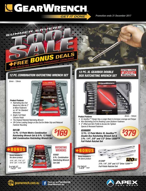 4pc Metric 21-25MM Flex Head Ratcheting Combo Wrench Set