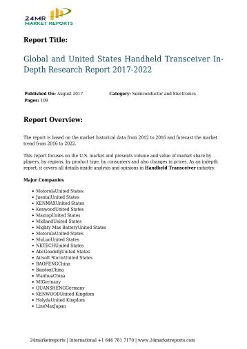 Handheld Transceiver In-Depth Research Report 2017-2022