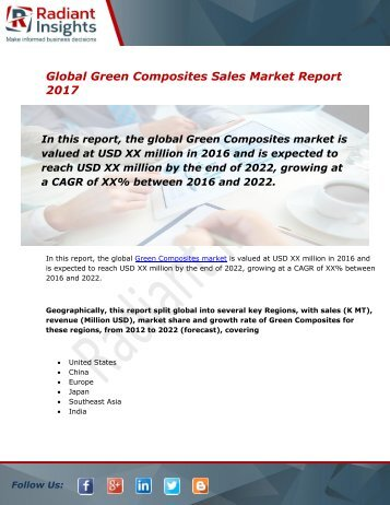 Green Composites Sales Market Size, Share, Trends, Analysis and Forecast Report to 2022:Radiant Insights, Inc