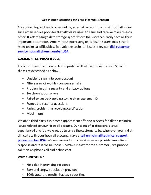Hotmail Customer Care Phone Number