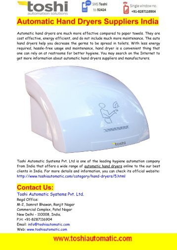 Automatic Hand Dryers Suppliers India - Toshi Automatic