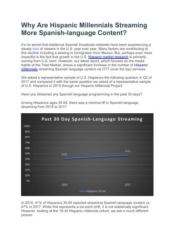 Why Are Hispanic Millennials Streaming More Spanish-language Content