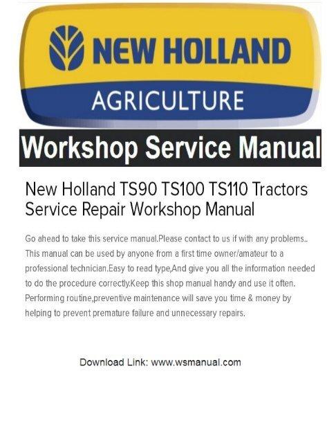 New Holland TS90 TS100 TS110 Tractors Service Repair
