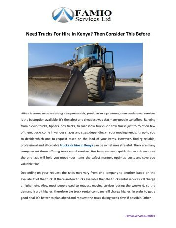 Need Trucks For Hire In Kenya? Then Consider This Before
