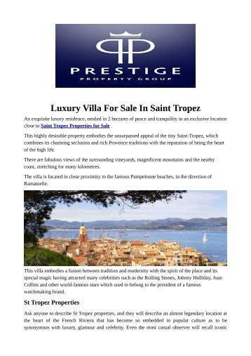 Luxury Villa For Sale In Saint Tropez