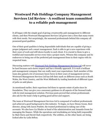 Westward Pub Holdings Company Management Services Ltd Review - A resilient team committed to a reliable pub management