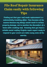 File Roof Repair Insurance Claim easily with following Tips