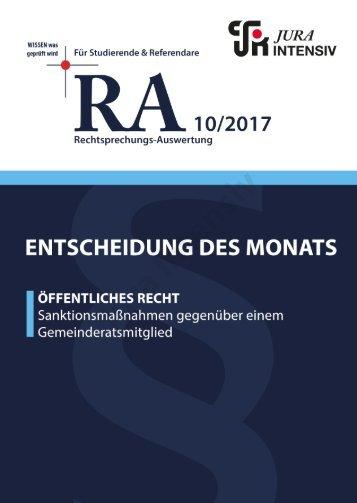RA 10/2017 - Entscheidung des Monats