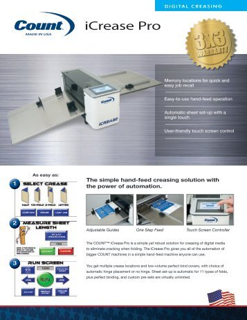 Count iCrease Pro Digital Paper Creaser Machine - Printfinish.com