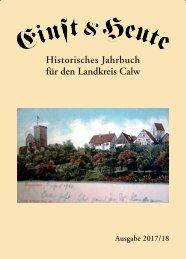 Einst & Heute – Historisches Jahrbuch für den Landkreis Calw – Ausgabe 2017/18