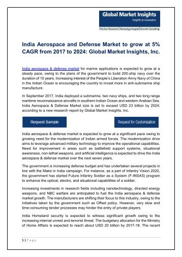 India Aerospace and Defense Industry to surpass $23bn by 2024