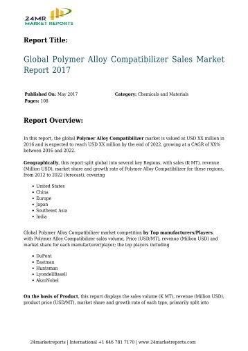 Polymer Alloy Compatibilizer Sales Market Report 2017