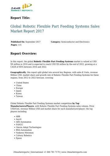 Robotic Flexible Part Feeding Systems Sales Market Report 2017