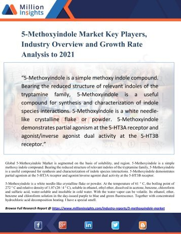 5-Methoxyindole Market Key Players, Industry Overview and Growth Rate Analysis to 2021