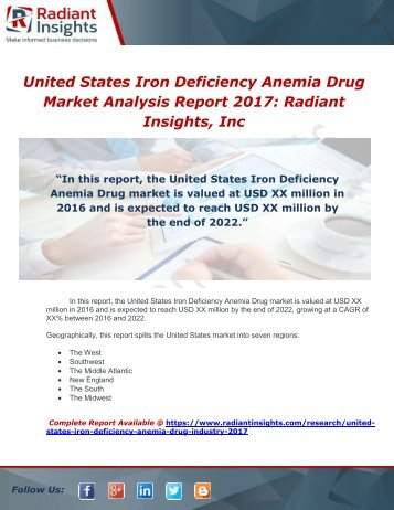 United States Iron Deficiency Anemia Drug Industry 2017 Market Research Report