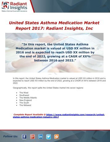 United States Asthma Medication Industry 2017 Market Research Report