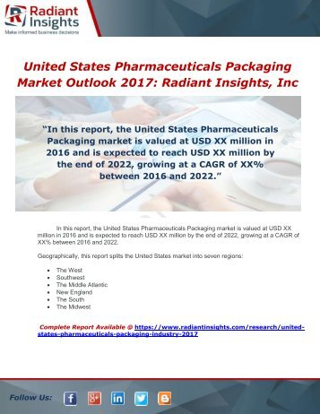 United States Pharmaceuticals Packaging Industry 2017 Market Research Report