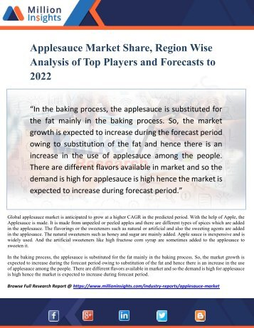 Applesauce Market Share, Region Wise Analysis of Top Players and Forecasts 2022