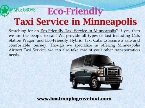 Eco-Friendly Taxi Service in Minneapolis